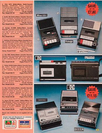 1976 cassette recorders in an Argos catalogue