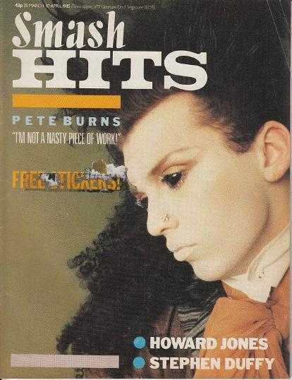 Pete Burns on the cover of Smash Hits magazine 28th March-10th April 1985