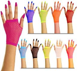 80s Neon Fishnet Fingerless Gloves