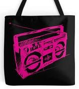 Neon pink Ghettoblaster Tote Bag