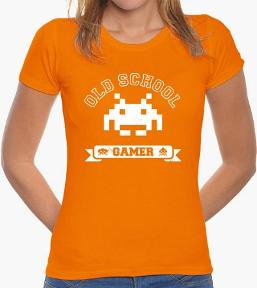 Old School Gamer Orange Space Invader T-shirt