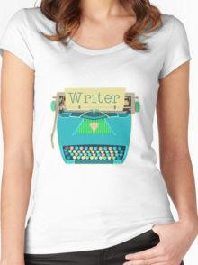Women's Writer Aqua Blue Typewriter T-shirt