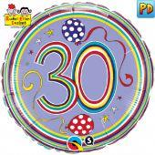 30th Birthday Polka Dots and Stripes Foil Balloon