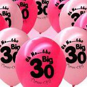 Pink and Fuschia 30th Birthday Party Balloons x 20