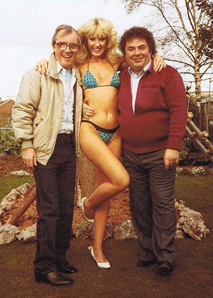 Photograph of Susie Silvey with Little and Large in the 1980s