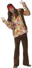 60s Hippy Man Costume with psychedelic pattern top