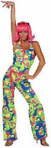 70s Psychedelic Neon Disco Catsuit for Ladies