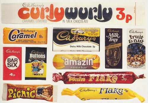 70s chocolate bars by Cadbury's