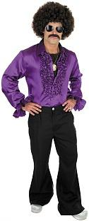 70s Disco Man Costume - purple ruffled shirt, afro wig
