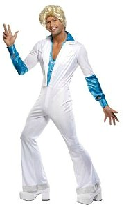 70s Disco Jumpsuit Outfit for Men with blue satin effect shirt