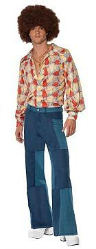 70s Costume for Men - Patchwork Flared Trousers and Shirt