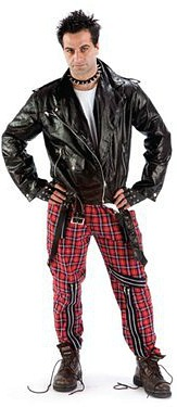 70s punk fancy dress - red tartan bondage trousers