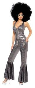 1970s Silver Disco Jumpsuit - Fancy Dress Costume for Women