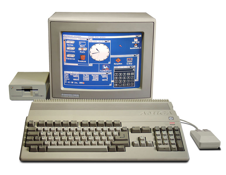 Commodore Amiga 500 16 bit home computer with monitor and floppy drive