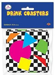 1980s Geometric Colour Shapes Drink Coasters
