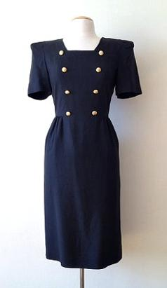 80s Military Style Dress with Dramatic Shoulder Pads