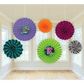 80s Paper Fan Party Decorations