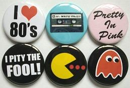 80's pin badges