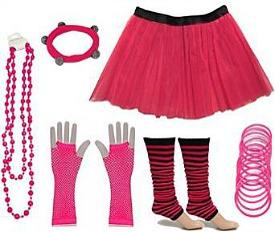 Neon Pink 80s Skirt and Accessories Kit