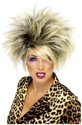 80s Wild Girl Wig - black with blonde highlights