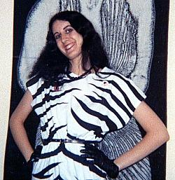 1980s - Girl in a zebra print dress with batwing sleeves