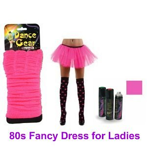 80s neon pink legwarmers and tutu fancy dress