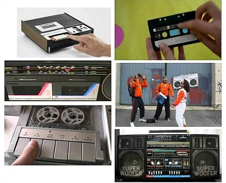 80s cassette recorders and ghettoblasters collage