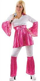 ABBA pink and white Mamma Mia 1970s Costume