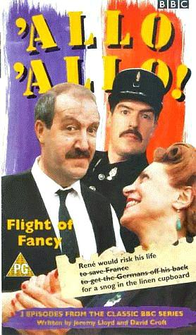 Allo, Allo! - Rene (Gordon Kaye), his wife Edith (Carmen Silvera) and Officer Crabtree (Arthur Bostrom)