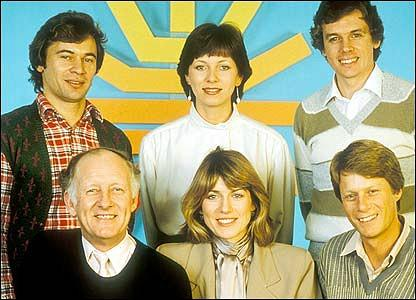 BBC Breakfast Time Presenters (1983) - Weatherman Francis Wilson, Debbie RIx, David Icke, Frank Bough, Selina Scott and Nick Ross