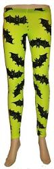 Neon Green Bat Print Leggings