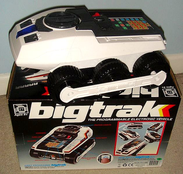 Bigtrak 80s toy vehicle on a box