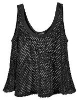 Black Mesh Fishnet crop Top for Madonna dress-up
