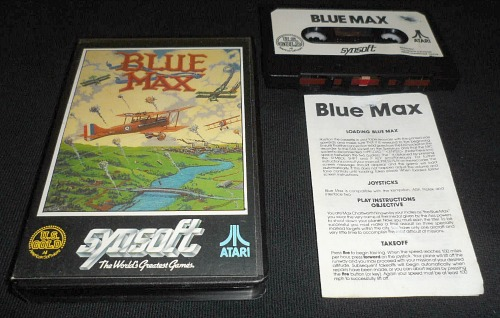 Blue Max Atari 8-bit cassette with instructions