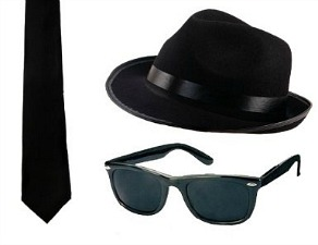 80s Fancy Dress for Men - Blues Brothers Kit
