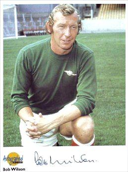 Bob Wilson posing in his Arsenal goalkeeper's kit before he became a TV football presenter for the BBC