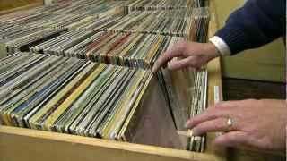 Browsing through vinyl records