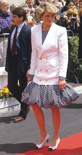 Princess Diana wearing a striped puffball skirt at Cannes in 1987