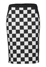 Chequered black and white Jersey Skirt