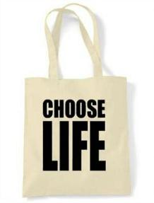 Choose Life 80s Tote Shopping Bag (six colour choices)