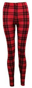 Classic Red Tartan Print Leggings - ideal for punk dress-up