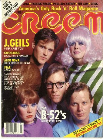 The B-52's on the cover of Creem music magazine in July 1982
