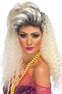 80s Crimped and Quiiff Hair Blonde Wig for ladies