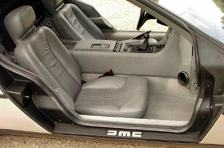 Interior of a DeLorean DMC-12 with manual gearbox