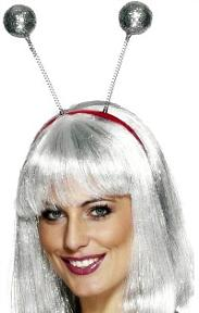 Silver Glitter Ball Deely Boppers for 80s Dress-Up