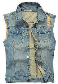 Faded Denim Waistcoat for Men