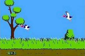 Flying ducks in the Nintendo Duck Hunt video game