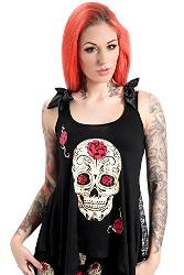 Emo Gothic Skulls and Roses Rock Punk Bow Top