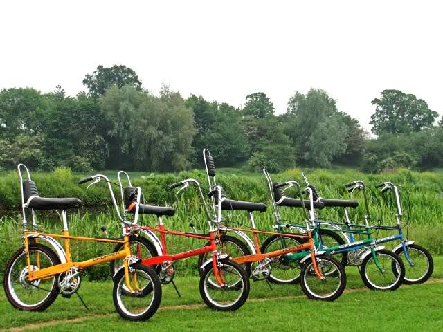 A row of Raleigh Chopper Mk1 bikes