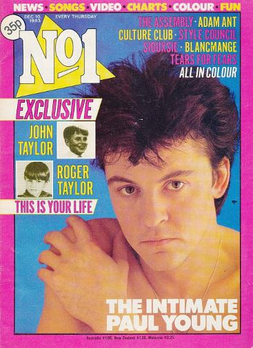 Paul Young on cover of No1 magazine December 1983